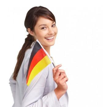 девушка с немецким флагом